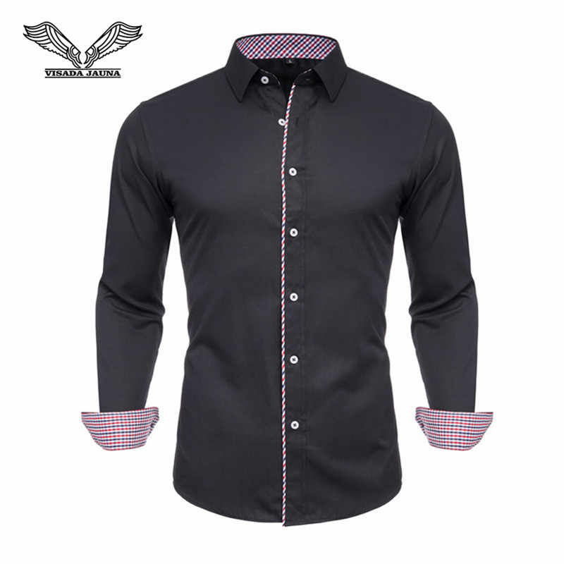 Visada Jauna 2019 Kemeja Pria Lengan Panjang Solid 100% Katun Bisnis Kausal Pria Shirt Merek Slim Fit Pakaian N5126