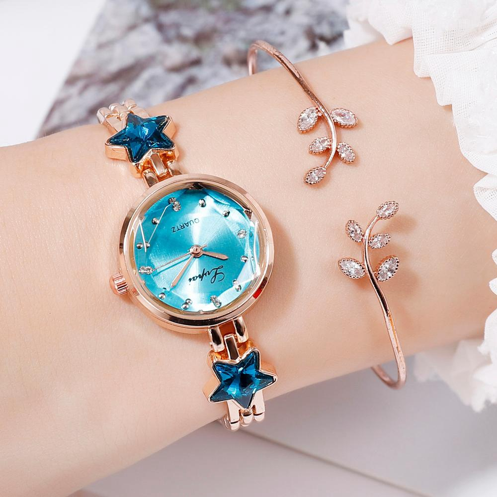 Temperament Raised Dial Quartz Star Watch Woman Luxury 2019 Women Famous Brand Steel Bracelet Watch Relogio Feminino 0#P6