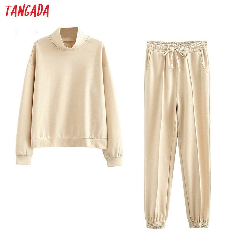 Tangada-Conjunto de sudadera de algodón con cuello alto para mujer, pantalones de chándal de cintura elástica, trajes informales 6L22, caqui, 2020, otoño 100