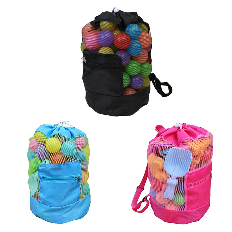 Portable Beach Bag Foldable Mesh Swimming Bag Children Beach Toy Organizer Baskets Storage Backpack Kids Outdoor Swimming Waterp