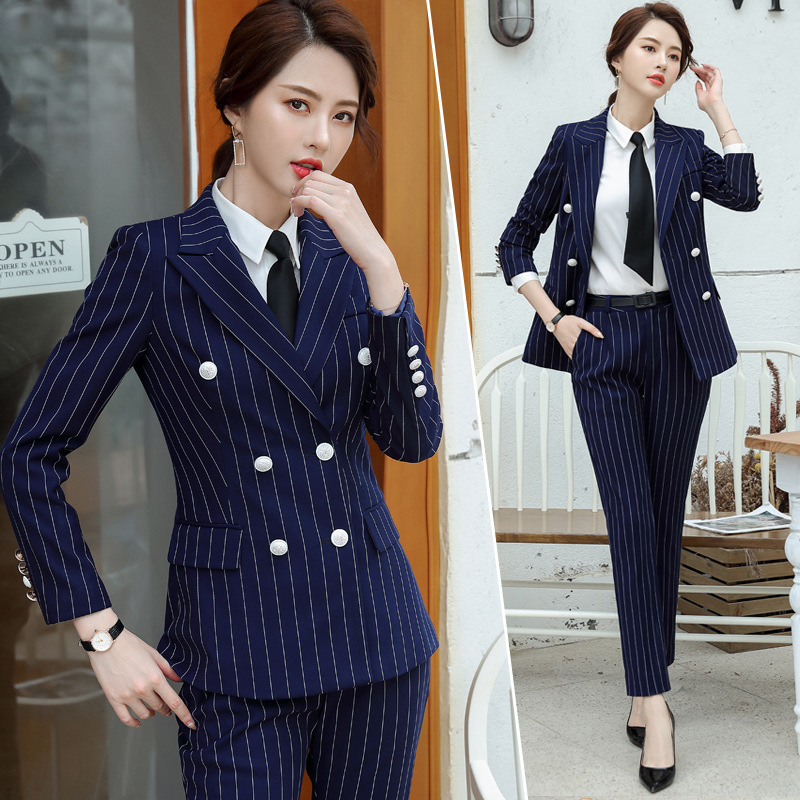 New Spring And Autumn Fashion Stripe Professional Suit Business Suit Women's Suit Temperament Formal High-end Small Suit