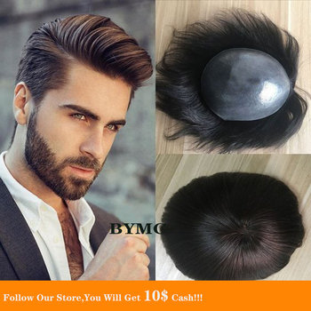 BYMC Men Toupee Durable Hairpieces PU Thin Brazil Human Hair System For Males Natural Hair Replacement Black And Brown Colored bymc brown brazil human remy hair replacement system for men toupee mens natural hairpieces swiss lace with various colored