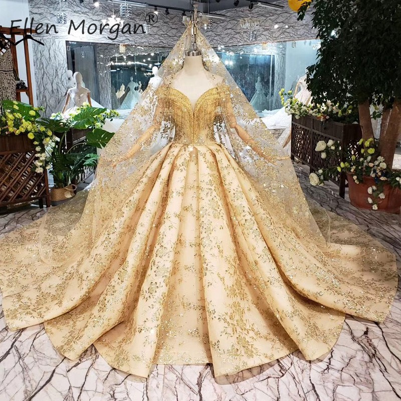 Saudi Arabia Gold Ball Gowns Wedding Dresses Lace Up Customized Off Shoulder Luxury Glitter Bridal Gowns For Women Without Veil