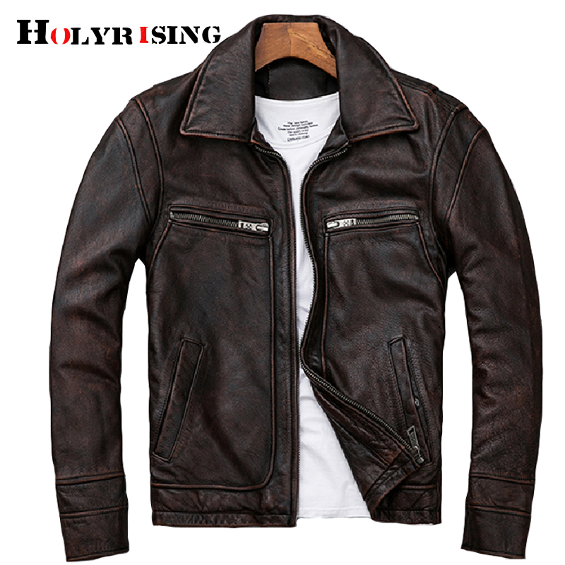 Men's Genuine Leather Distressed Motorcycle Men Real Leather Jacket 100% Cowhide Retro Red Brown Men's Leather Coat 19078-5