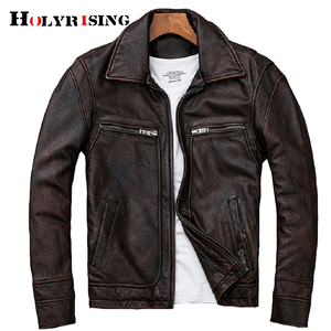 Image 1 - mens Genuine leather distressed motorcycle men real leather jacket 100% Cowhide retro red brown mens Leather Coat 19078 5