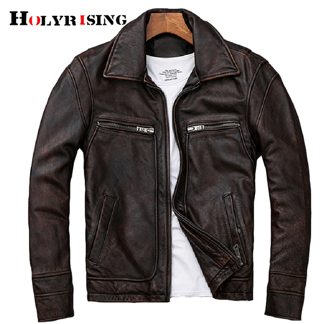 mens Genuine leather distressed motorcycle men real leather jacket 100% Cowhide retro red brown mens Leather Coat 19078 5