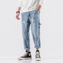 Yasword Spring Autumn Men Raw Hem Straight Blue Hole Jeans Loose Comfortable Denim Pants Trousers Casual Fashion Washed цена