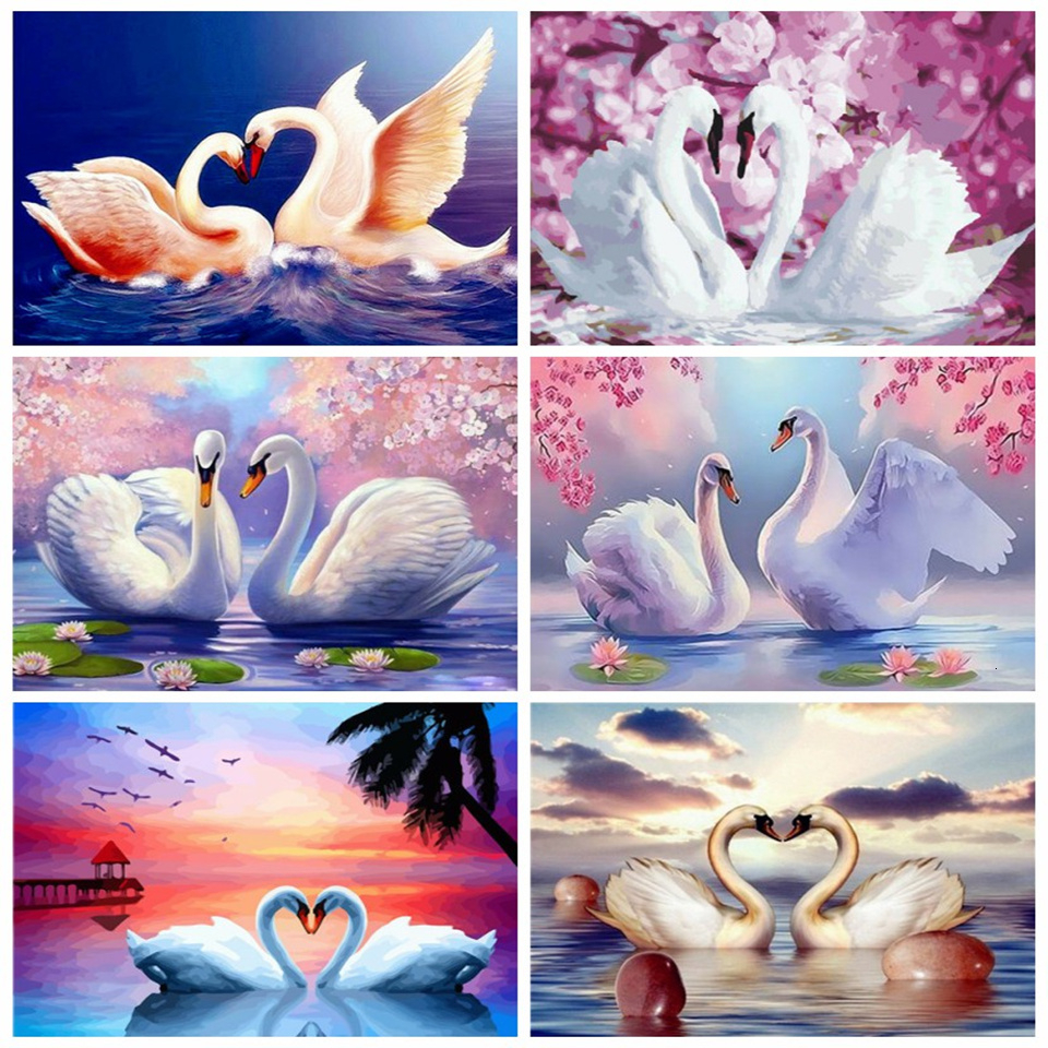 AZQSD Unframe Painting By Numbers Swan DIY Canvas Picture Home Decoration Handpainted Animal Coloring By Numbers Unique Gift