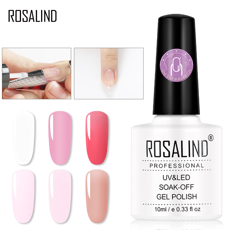 ROSALIND UV Nail Gel Polish One Step Builder Gel Poly One Step For Extension Manicure Without Base Nail Art Set Kit Use Top Coat