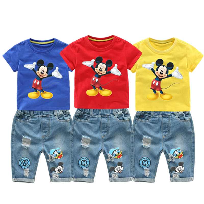 2020 Summer Children Boys Clothing Mickey Shorts Denim Pants Sport Suit Baby Kids Cartoon Short Sleeve T Shirt Jeans Clothes Set