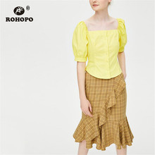 цена на ROHOPO Puff Sleeve Square Collar Yellow Cotton Crop Blouse Buttons Fly Solid Flared Solid Top Shirt #8101
