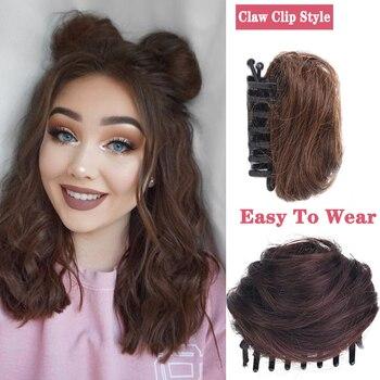 XIYUE, moño para el cabello de mujer, moño sintético rizado, moño de pelo con garra ombré, manojos rellenos, tapa para el pelo