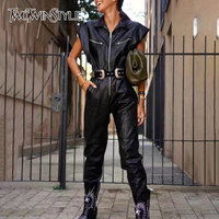 TWOTWINSTYLE PU Leather Biker Style Jumpsuits For Women Lapel Collar Short Sleeve High Waist With Sashes Jumpsuit Female Clothes