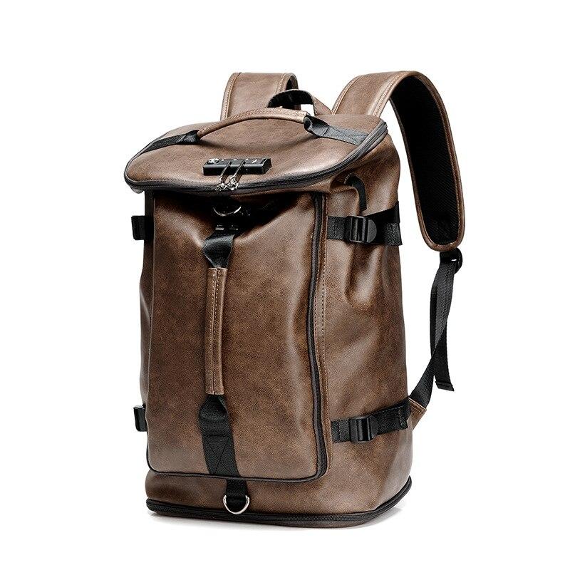 Mot de passe Lock Design multifonctionnel voyage sac à dos en cuir hommes sac à bandoulière rétro étudiant sac Simple ordinateur sac à dos