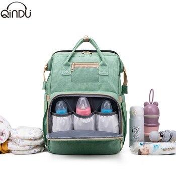 Diaper Bag Backpack Multifunctional Travel Portable Large Capacity Shoulder Mummy Waterproof Stylish Folding Crib Nappy Bags