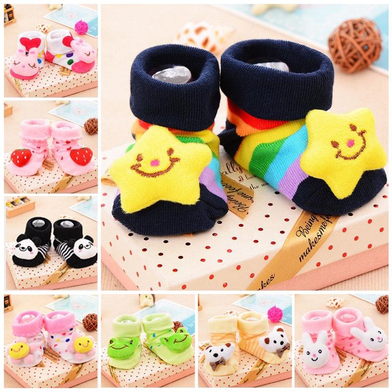 Baby Socks Boots Bells Floor Non-Slip Boys Cartoon Cute Cotton with Soft