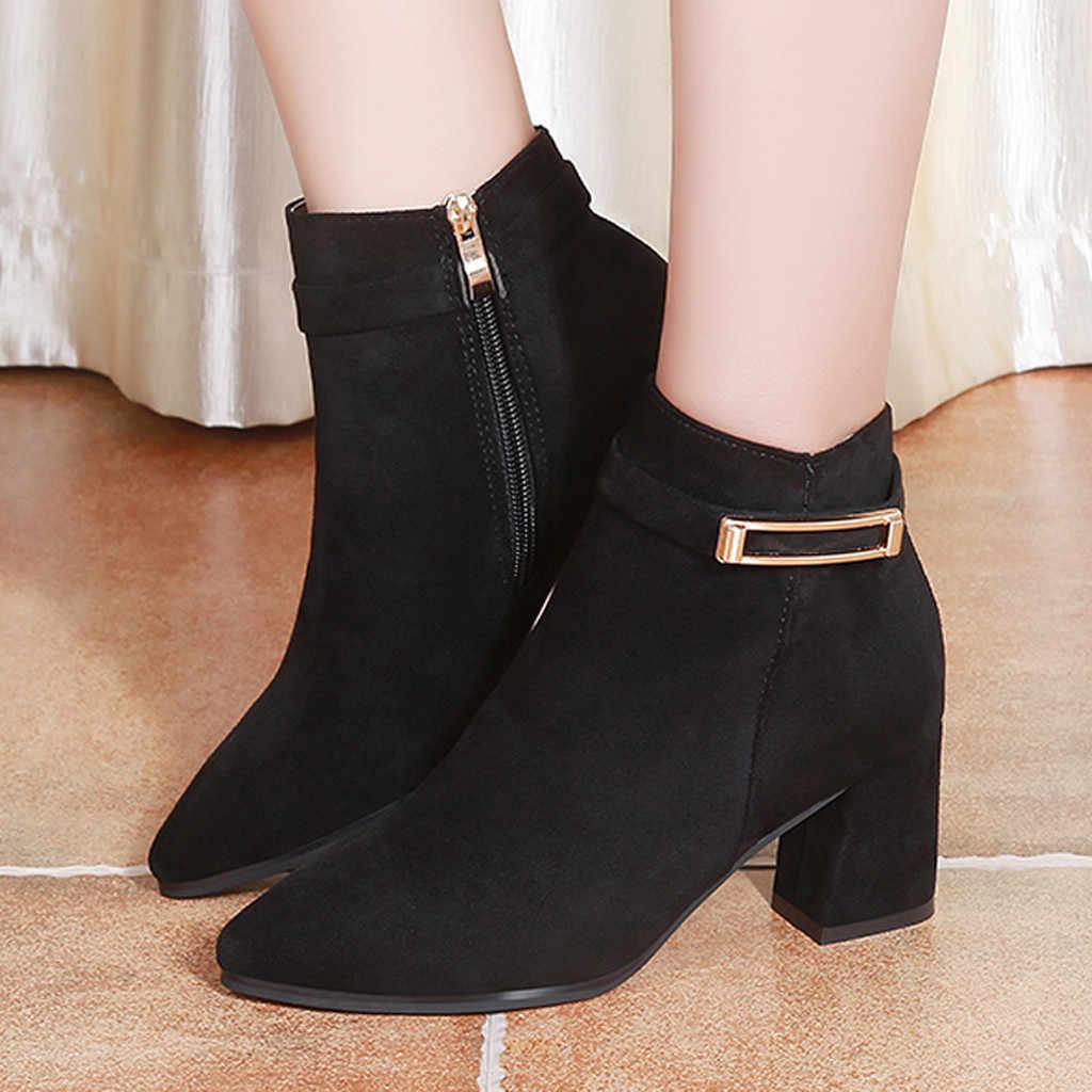 Botas mujer botas de tornozelo para mulheres de salto alto botas de tornozelo para mulheres de moda com zíper lateral curto-tubo botas de inverno