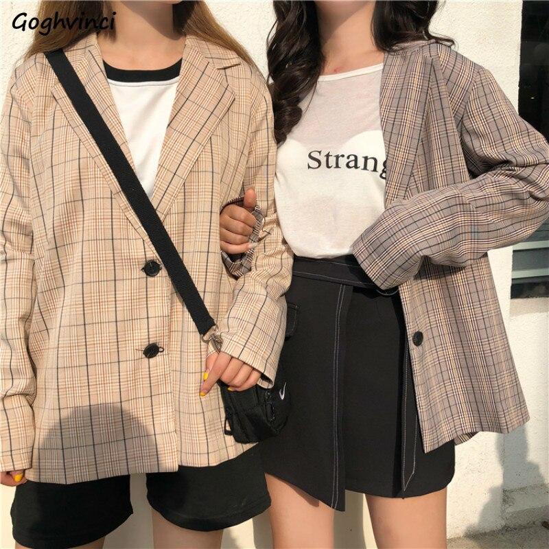 Блейзеры женские клетчатые однобортные простые винтажные повседневные универсальные свободные женские высокого качества корейский