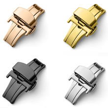 316L Solid Double Push Button Fold Watch Buckle Butterfly Deployment Clasp Silver Gold Replacement 12 14 16 18 20 22 mm 14 16 18 20 22mm double click butterfly watch buckle clasp push button fold deployment watchband clasp strap buckles accessories