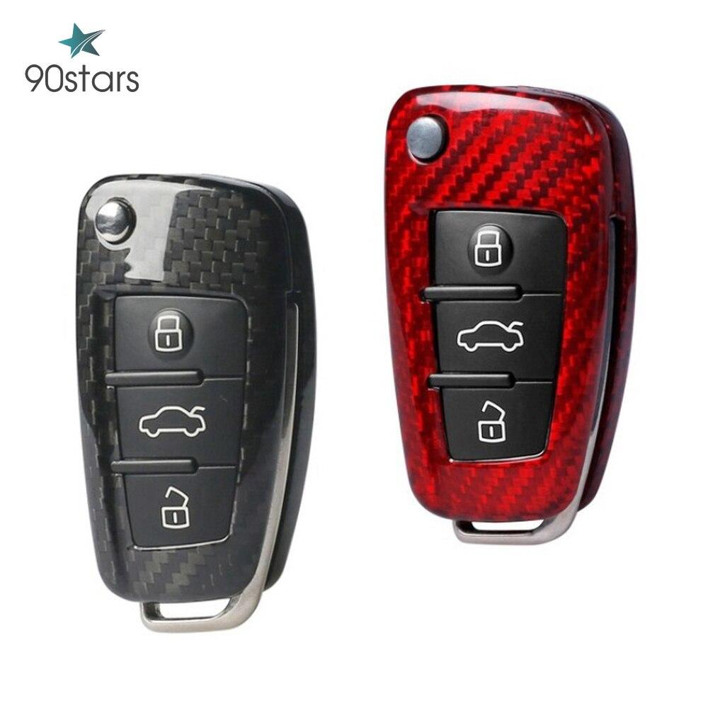 Real Carbon Fiber Car-Styling Auto Protection Key Shell Cover Case For Audi A3 8L 8P A4 B6 B7 B8 C6 4F RS3 Q3 Q7 TT 8L 8V S3