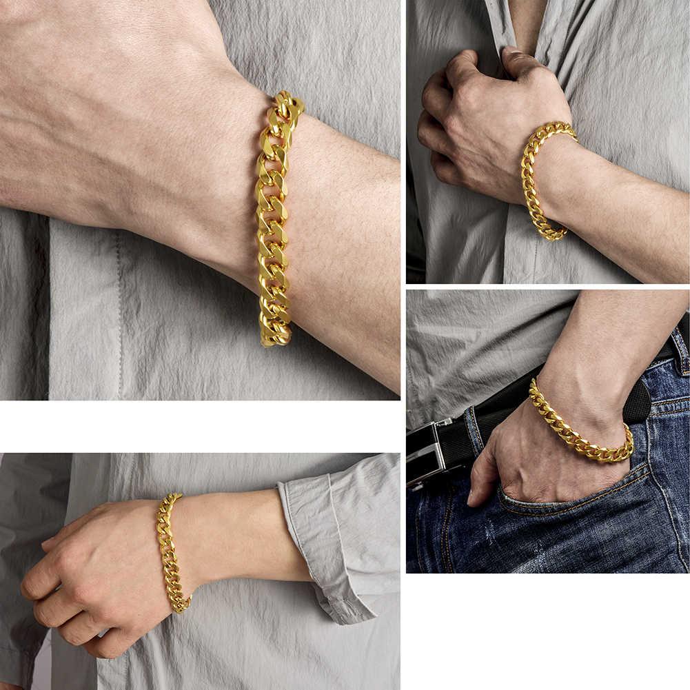 Stal nierdzewna srebrne bransoletki męskie kubańskie ogniwo łańcucha na rękę męskie dodatki łańcuszki bransoletki czarne hurtownia punk boże narodzenie