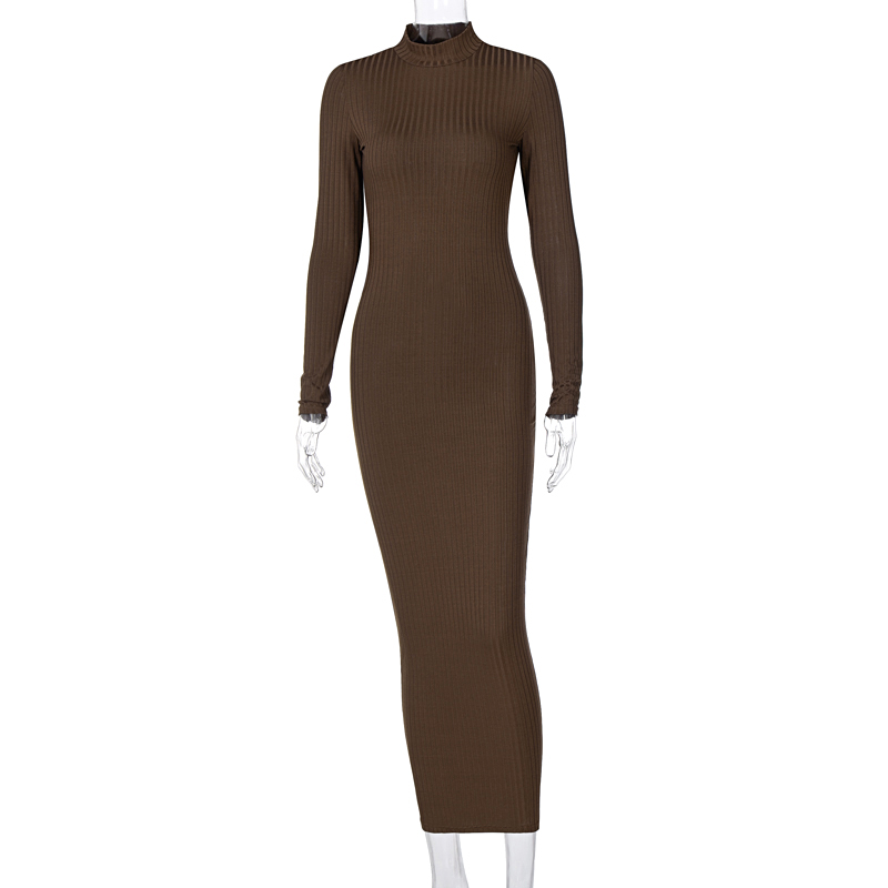 Hugcitar 2020 Long Sleeve Solid Backless Skinny  Ribbed Maxi Dress Autumn Winter Women Fashion Sexy Party Club Outfits 6