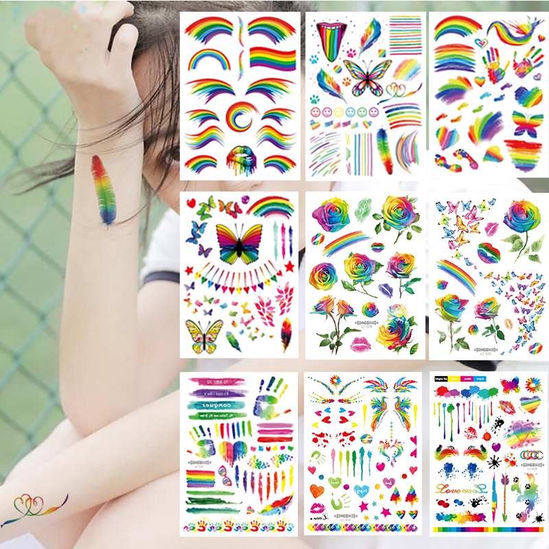 Rainbow Temporary Tattoo Stickers Colorful Flag Butterfly Flower Long Lasting Temp Tattoos For Gay Pride Men Women