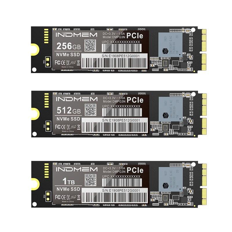 INDMEM SSD M2 NVMe M.2 256GB 512GB 1 테라바이트 SSD PCIe for Mac/MacBook Air/Macbook Pro SSD NVMe 하드 드라이브 3x4 3D NAND SSD for Apple