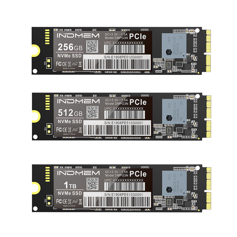 INDMEM SSD M2 NVMe M.2 256GB 512GB 1TB SSD PCIe For Mac/MacBook Air/Macbook Pro SSD NVMe Hard Drive 3x4 3D NAND SSD For Apple