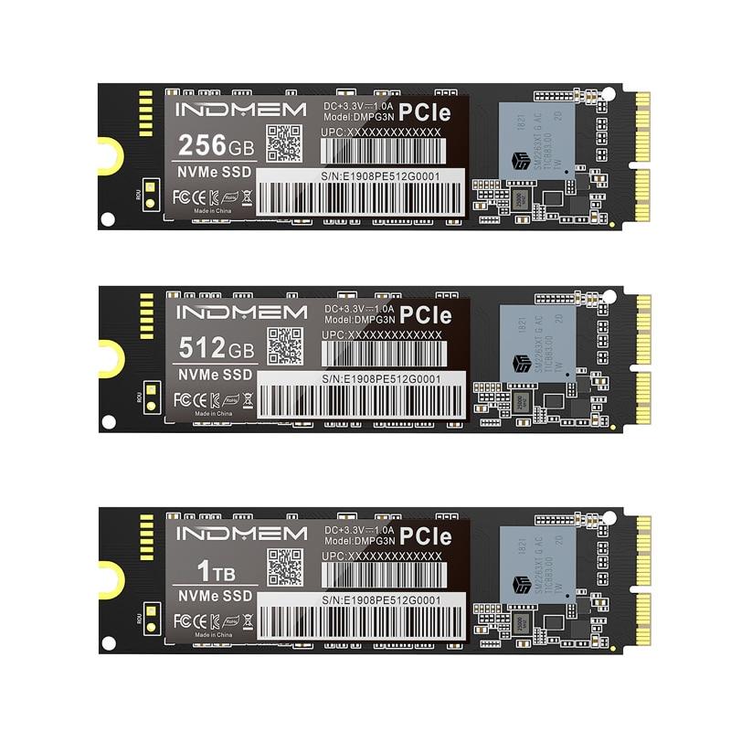 INDMEM SSD M2 NVMe M.2 256GB 512GB 1TB SSD PCIe For Mac/MacBook Air/Macbook Pro SSD NVMe Hard Drive 3x4 3D NAND SSD For Apple