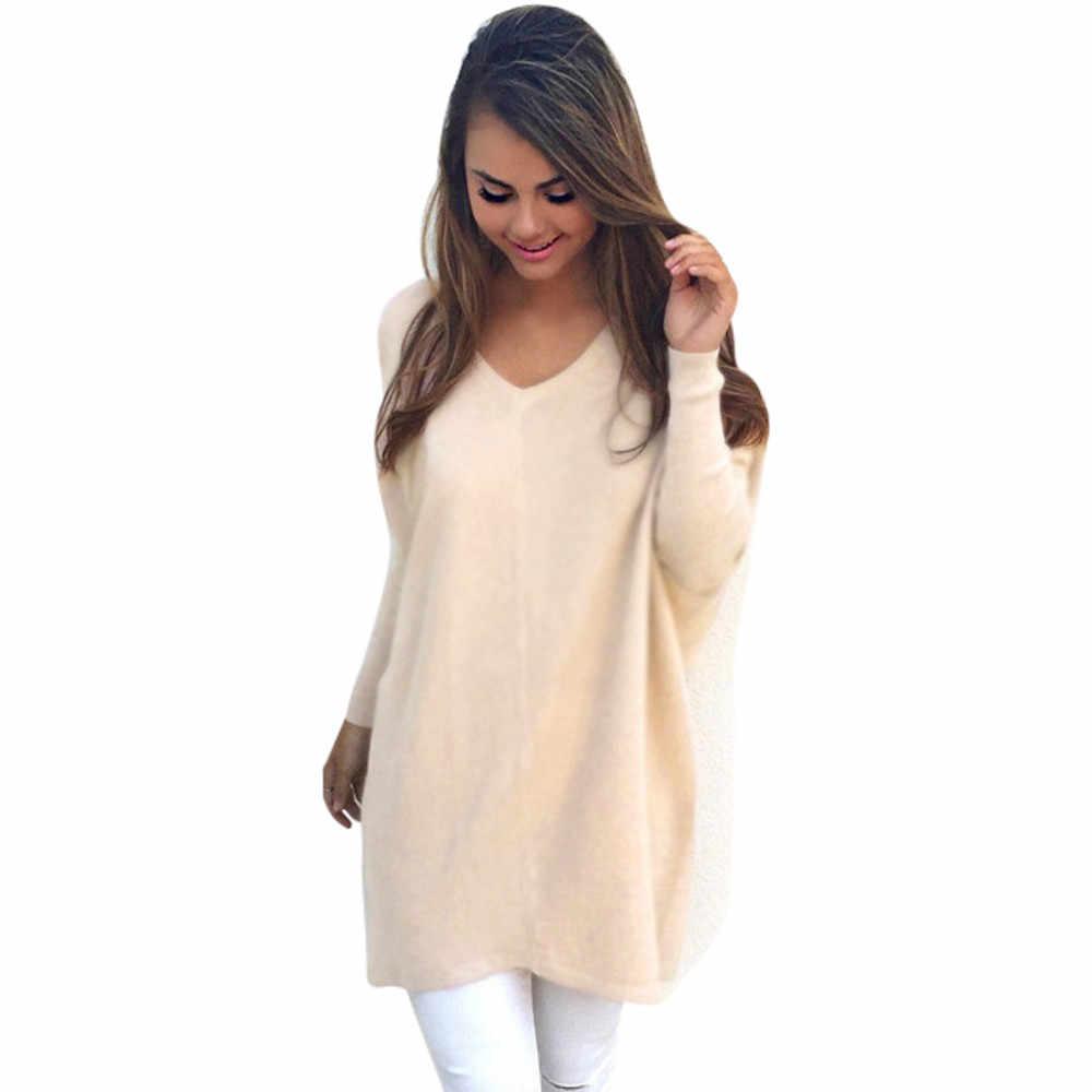 Jumper de Camisola das mulheres New Long-sleeved V Pescoço Cor Sólida Sexy Outono e Inverno Moda Casual Quente Diário pullover solta # S