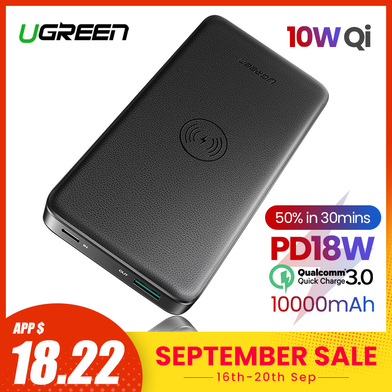 Ugreen QC3.0+PD Power Bank 10000mAh Portable Wireless Charger Powerbank For IPhone 11 XiaomiMi 9 Quick Battery Charger Poverbank