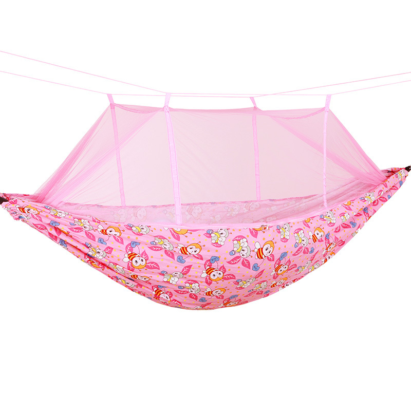 Thick Canvas Hammock With Mosquito Net Outdoor Anti-mosquito Anti-Falling Double Swing Send Tied Tree Strap
