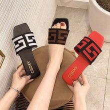 Zomer 2021 Merk Brief Desgin Vrouwen Slippers Mode Plus Size Platte Hakken Sildes Dames Muilezels Schoenen Sapatos De Mujer