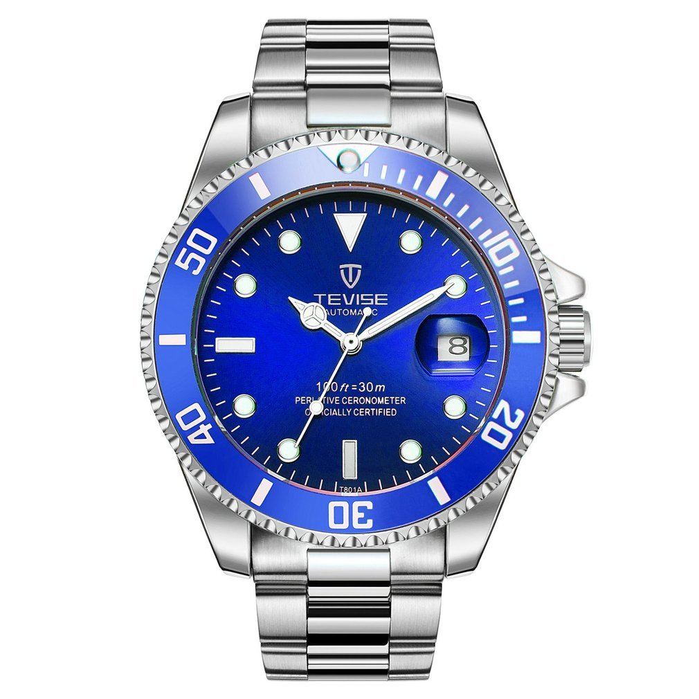 TEVISE Men's Automatic Mechanical Watches Waterproof Steel Band Wristwatch Male Luminous Sport Casual Watches