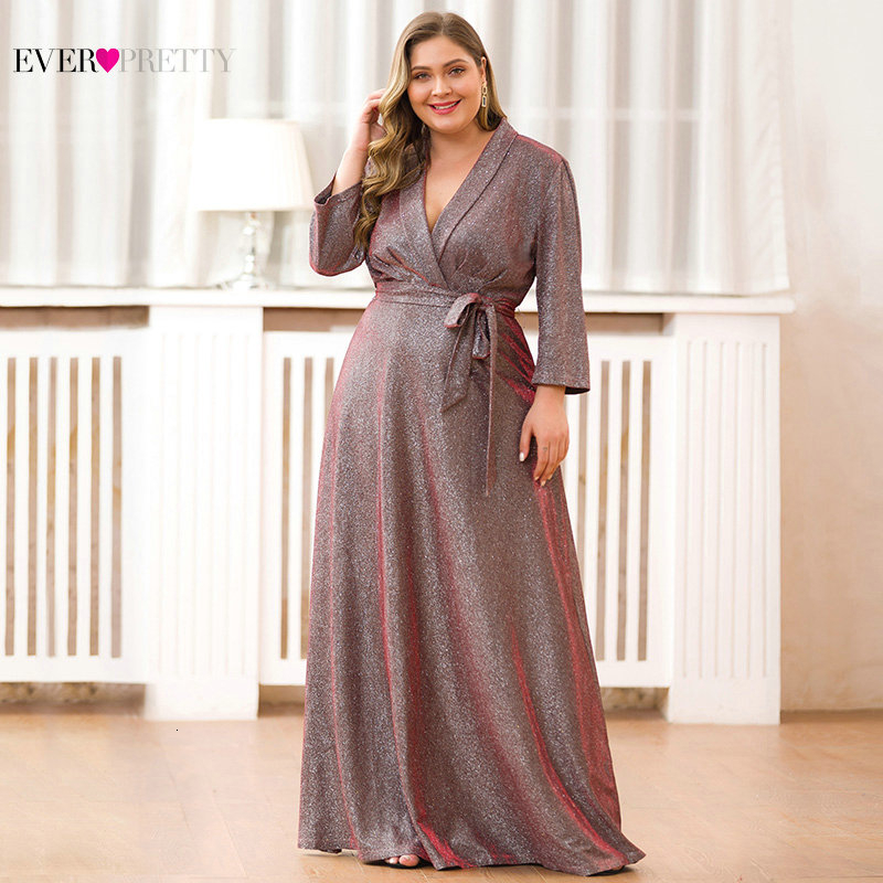Plus Size Mother Of The Bride Dresses Ever Pretty Long Sleeve V-Neck Sparkle Farsali Formal Mother Dresses Vestido De Madrinha
