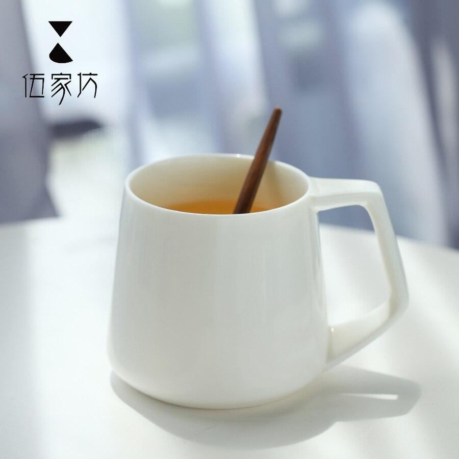 Haferflocken Frühstück Tasse Keramik Becher mit Löffel Japanischen Stil Keramik Becher Plain Weiß Kaffee Becher Handgemachte Tassen Keramik HH50MK