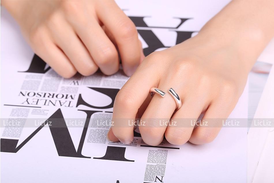 Hf9560120e61d480f8990ab87ddf4643eZ LicLiz 2019 925 Sterling Silver Big Open Adjustable Ring for Women Men Plain White Gold Jewelry Joyas de Plata 925 Bijoux LR0329