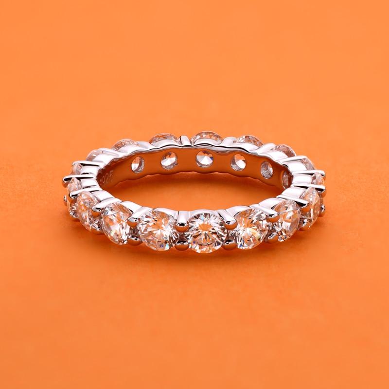 AINUOSHI 925 en argent Sterling 4mm rond coupe pleine éternité bague de mariage bague d'anniversaire pour les femmes