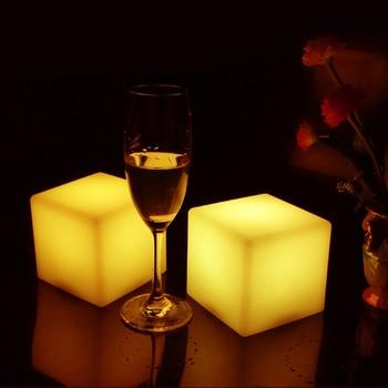 цена на Multi Color novelty 13cm*13cm*13cm atmosphere PE Square Cube led cube light illuminated night light CE/FCC/RoHS approved 4pcs