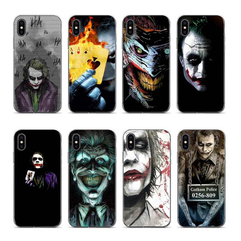 Poker joker Cartoon Printed Covers case For iPhone 7 7plus 8 8plus X XR XS 11 pro max 5 5s 6 6S 6plus se soft Cool Design shell