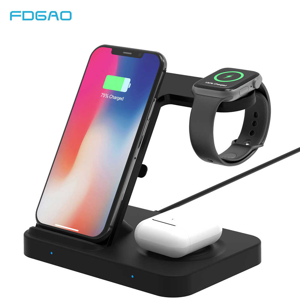 5 In 1 Nirkabel Charger Stand 10W QI Pengisian Dock Station untuk Samsung Galaxy Menonton Gear Tunas iPhone 11 apple IWatch Airpods Pro
