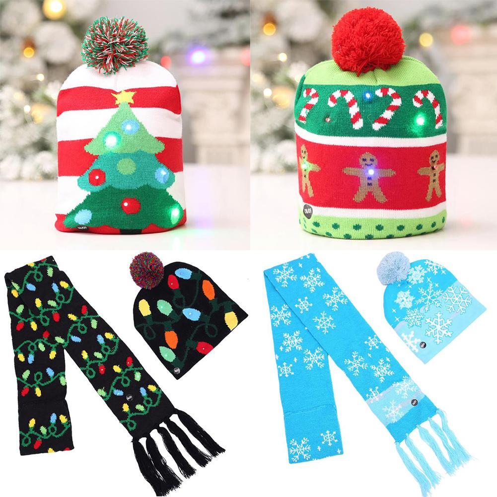 Adult Children Lovely Christmas LED Light Beanie Hat Warm Knitted Cap Scarf Set Increase Christmas Happiness Perfect Gfits