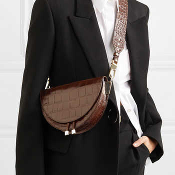 Fashion Alligator Leather Saddle Bag Women Luxury Shoulder Bags Small Round Handbag Spring and Summer Crossbody Messenger Bags - DISCOUNT ITEM  39% OFF All Category