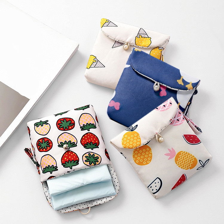 ETya Travel Women Packing Sanitary Napkin Bags Cotton Women Small Cosmetic Coin Money Earphone Card Storage Bag Pouches