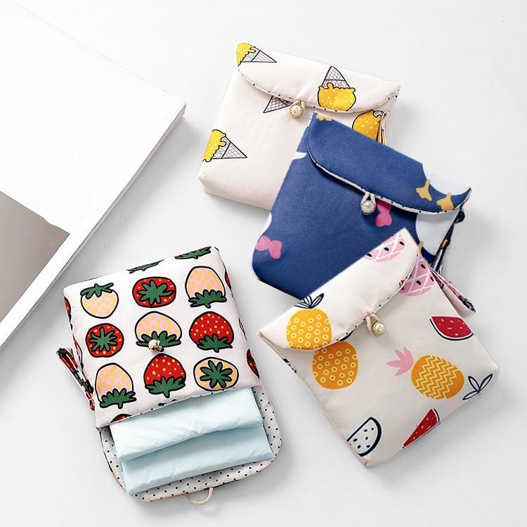 eTya Travel Women Packing Sanitary Napkin Bags Cotton Women Small Cosmetic Coin Money Earphone Card Storage Bag Pouches