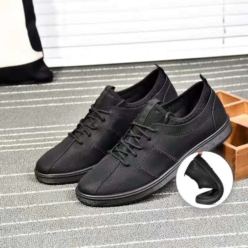 Brand Men Shoes Casual Leather Fashion Lace Up Trendy Black Grey Flat Shoes For Men Comfortable Soft Drving Shoes Drop Shipping
