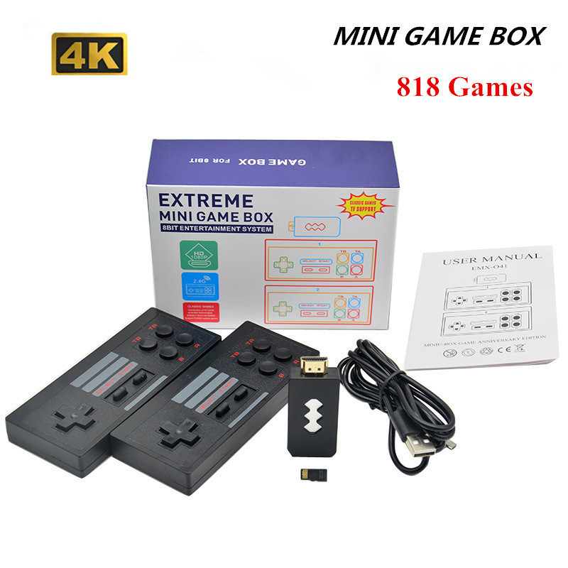 HD-compatible Video Game Console Built in 620/818 Classic Games Retro Console Wireless Controller AV/HD Output Mini game box