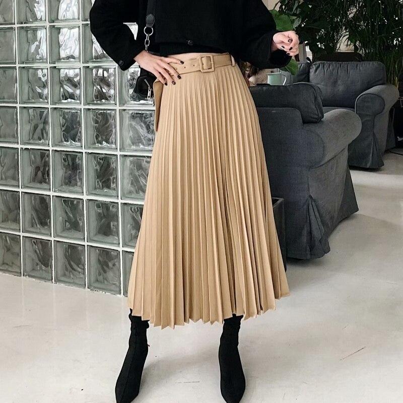 Women Pleated Skirt Autumn 2019 New Fashion Belt Zipper Fly Modern Lady Long Skirts