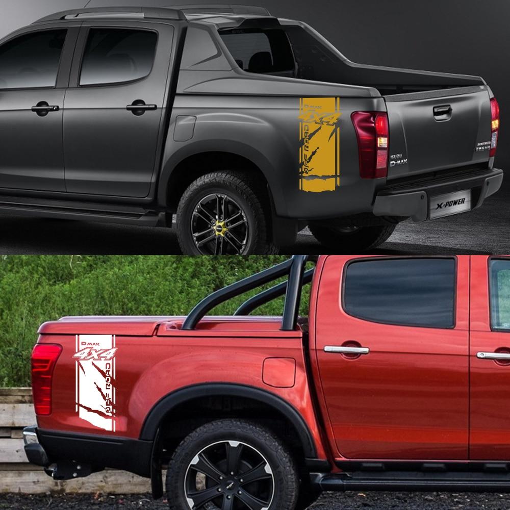 2Pcs עבור איסוזו Dmax רכב צד מדבקות DIY אוטומטי אחורי תא מטען ויניל סרט מדבקות רכב ספורט קישוט רכב כוונון אבזרים
